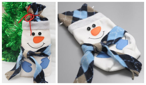 DIY Fabric Snowman Gift Bag Free Sewing Pattern + Tutorial