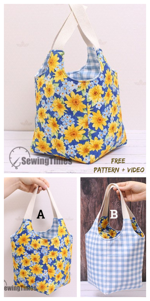 DIY Reversible Fabric Square Tote Bag Free Sewing Pattern + Video