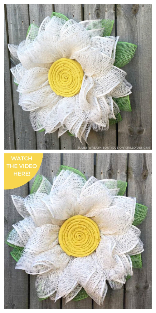 DIY Spring Burlap Daisy Wreath Easy Tutorial