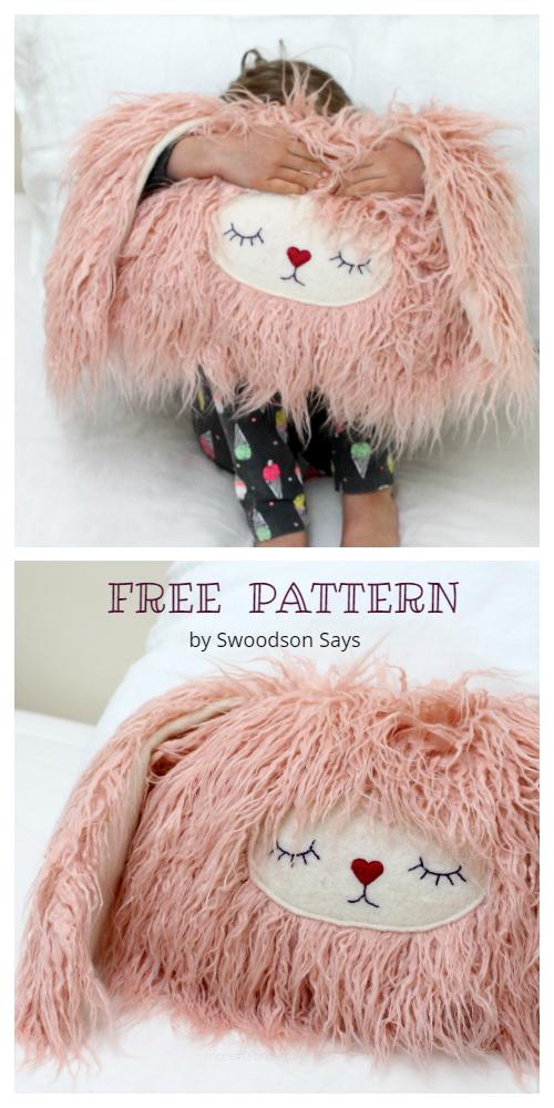 DIY Stuffed Bunny Pillow Free Sewing Pattern + Tutorial