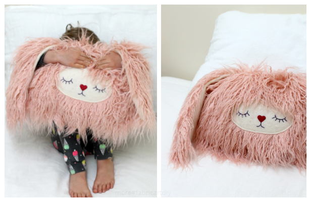 DIY Stuffed Bunny Pillow Free Sewing Pattern + Tutorial