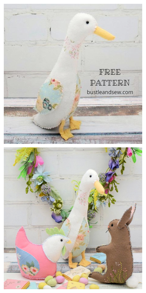 DIY Stuffed Fabric Goose Free Sewing Patterns - Miss Matilda Gosling