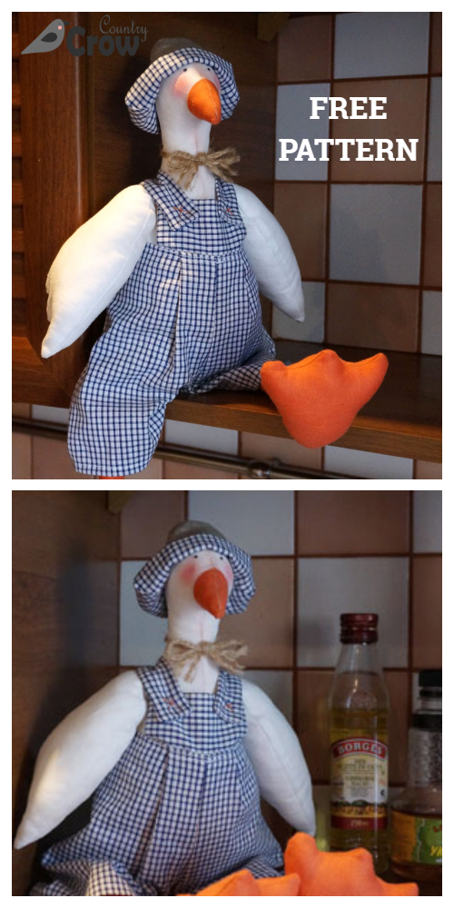 DIY Stuffed Fabric Goose Free Sewing Patterns - Hans the Goose