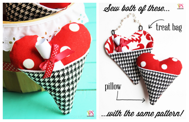 DIY Valentine Fabric Heart Pocket Pillow Free Sewing Patterns + Tutorial
