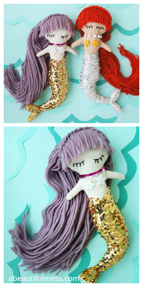 DIY Fabric Mermaid Doll Free Sewing Patterns