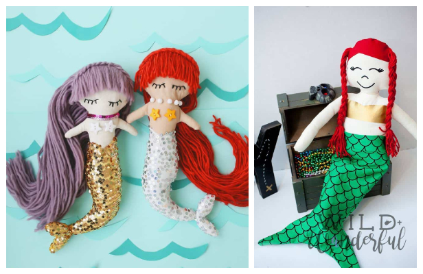 DIY Fabric Mermaid Doll Free Sewing Pattern