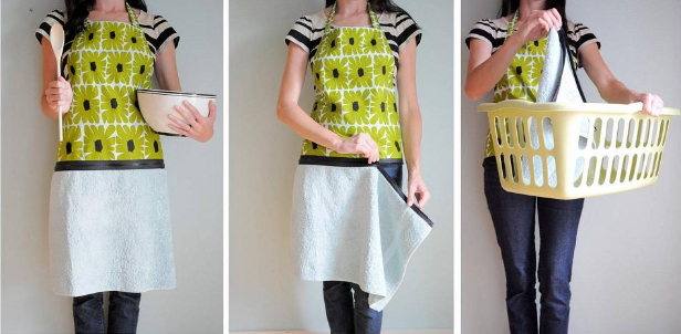 DIY Hand Towel Apron with Zipper Sewing Tutorial