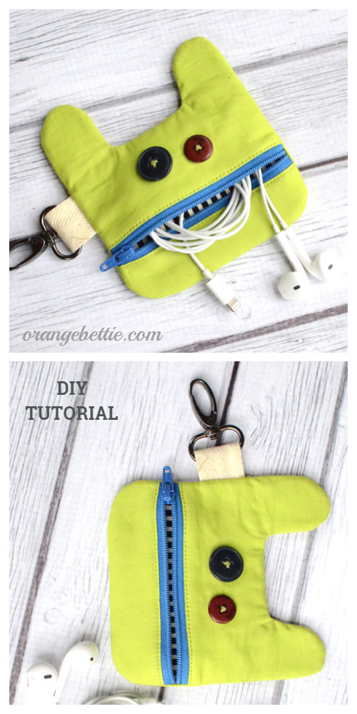 DIY Monster Earbud Pouch Free Sewing Pattern + Tutorial