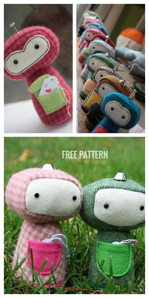 DIY Fabric Pocket Robot Toy Free Sewing Patterns