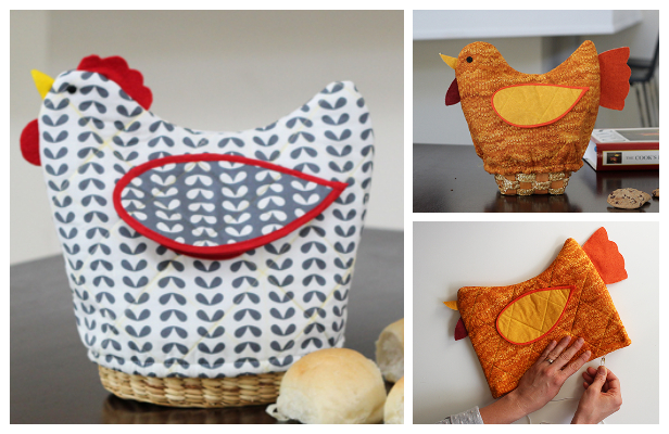 DIY Quilt Chicken Bread Basket Cover Free Sewing Pattern