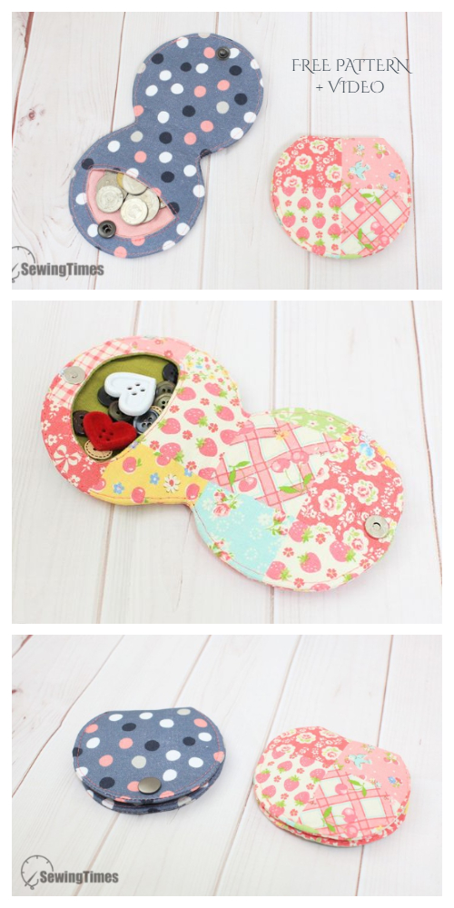 DIY Easy Fabric Fold Over Coin Pouch Free Sewing Pattern + Video