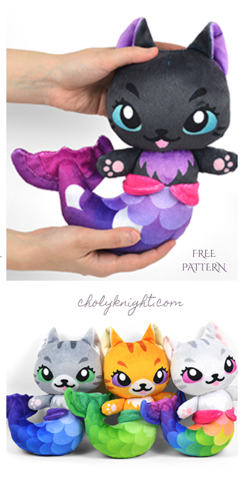 DIY Fabric Mermaid Kitty Plush Free Sewing Pattern & Tutorial