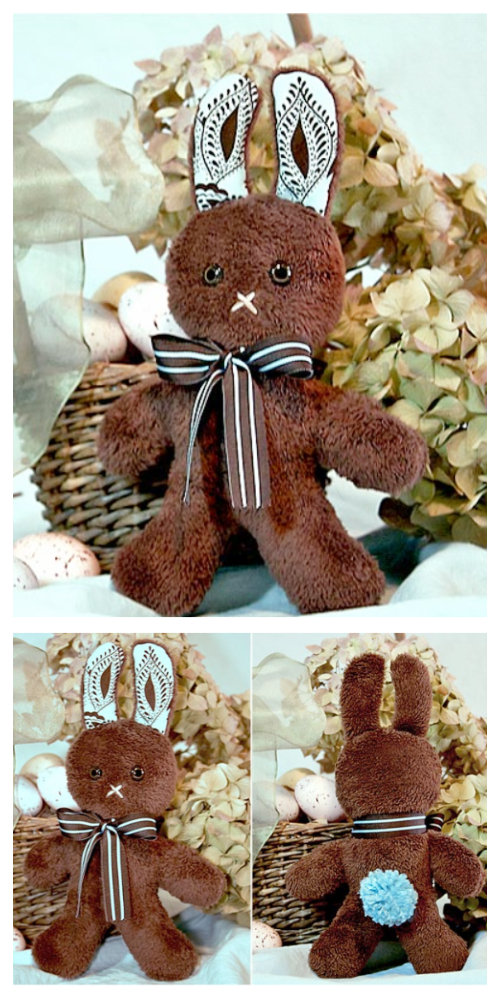 DIY Fluffy Fabric Chocolate Bunny Free Sewing Pattern and Tutorials