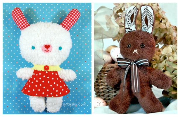 DIY Fluffy Fabric Toy Bunny Free Sewing Patterns and Tutorials