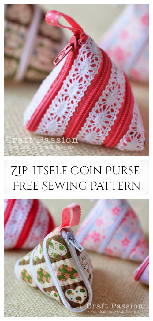 DIY Zip-Itself Triangle Coin Purse Free Sewing Pattern + Tutorial