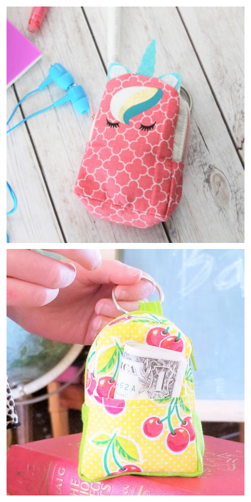 DIY Mini Back Pack Coin Purse Free Sewing Patterns & Tutorial