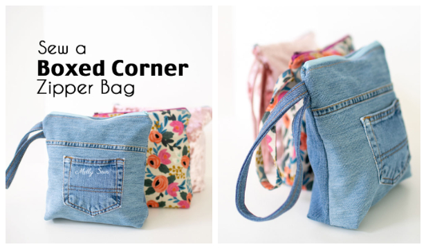 DIY Recycled Flat Bottom Jean Bag Free Sewing Patterns