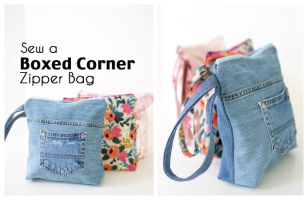 DIY Recycled Flat Bottom Jean Bag Free Sewing Patterns