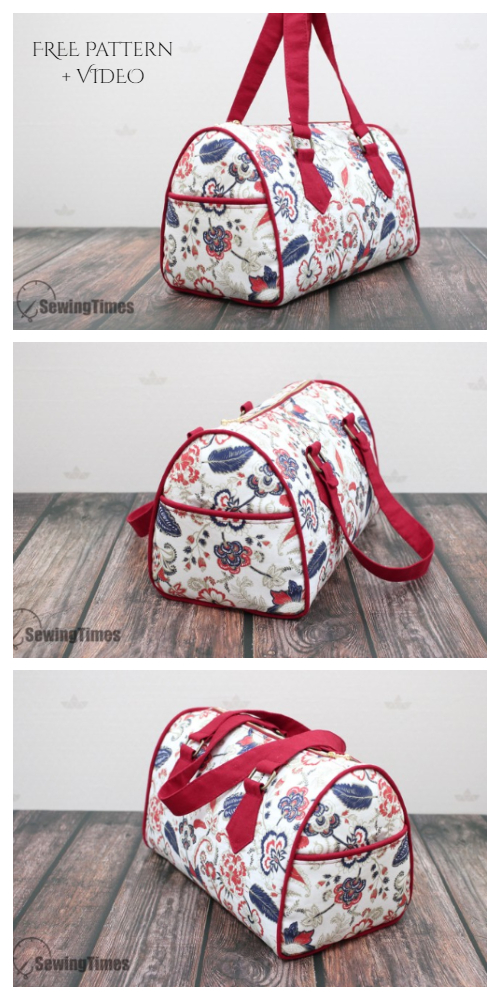 DIY Fabric Barrel Bag Free Sewing Pattern + Video