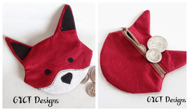 DIY Fabric Fox Coin Purse Free Sewing Pattern & Tutorial