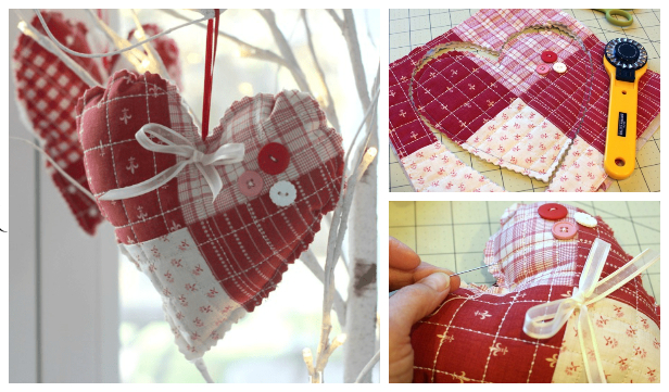 DIY Fabric Quilted Heart Free Sewing Patterns & Tutorial