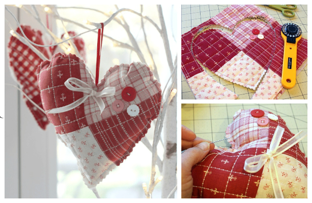 DIY Fabric Quilted Heart Free Sewing Patterns