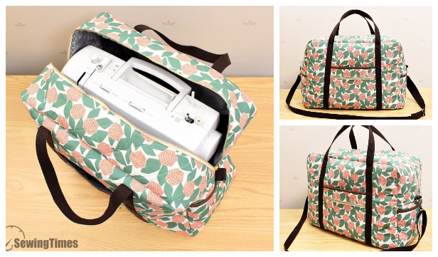 DIY Fabric Sewing Machine Carrying Tote Bag Free Sewing Pattern + Video
