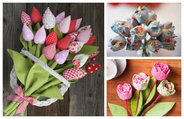 DIY Fabric Tulip Flower Free Sewing Patterns + Video