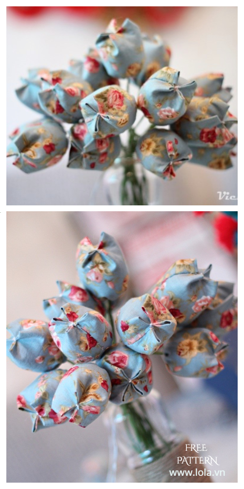 DIY Fabric Tulip Flower Free Sewing Patterns