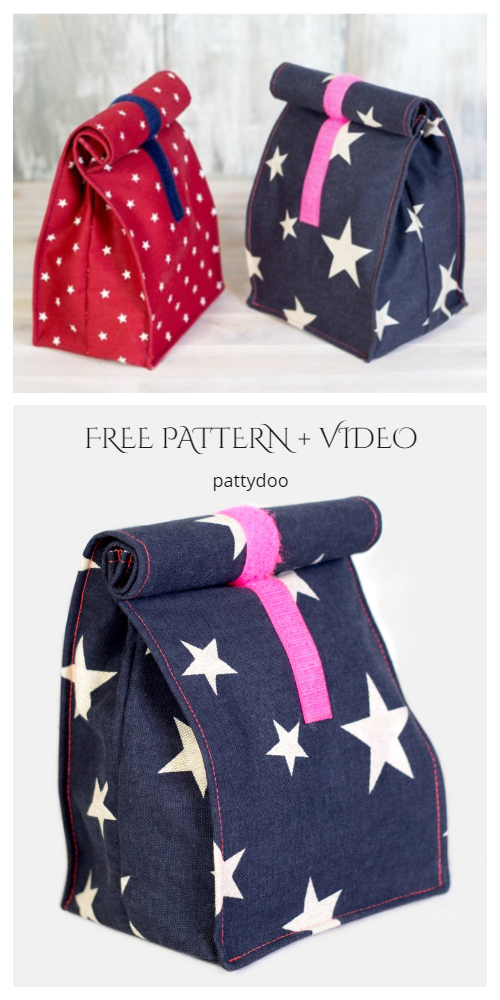 DIY Simple Fabric Lunchbag Free Sewing Pattern + Video