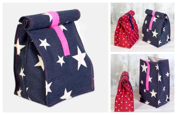DIY Simple Fabric Lunchbag Free Sewing Pattern + Video