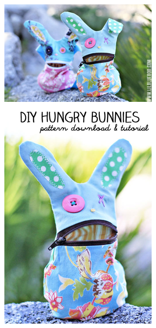 DIY The Hungry Bunny Zipper Bag Free Sewing Pattern