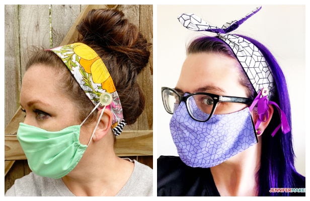 Buttoned Fabric Headband for Mask Free Sewing Patterns + Video