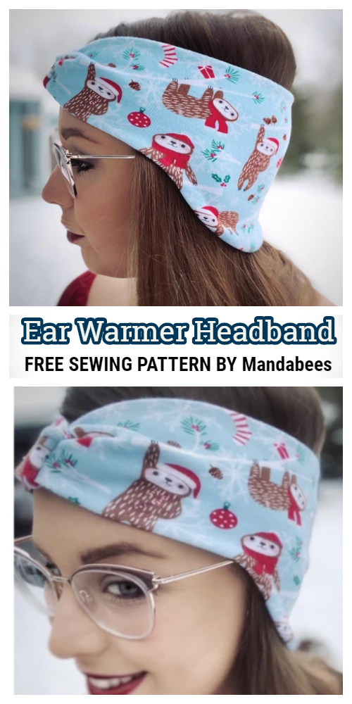 Buttoned Fabric Earwarm Headband for Mask Free Sewing Patterns + Video