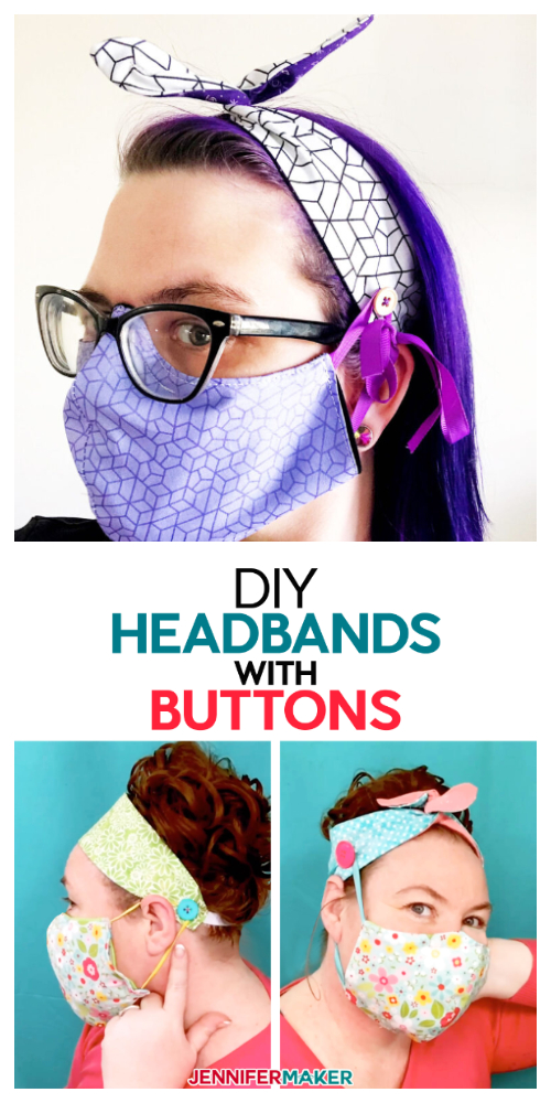 Buttoned Fabric Nurse Headband for Mask Free Sewing Patterns