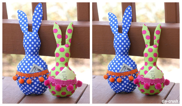 DIY Fabric Easter Pocket Bunny Toy Free Sewing Pattern