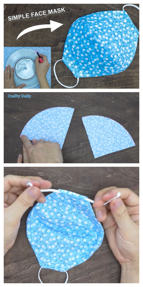 DIY Fabric Face Mask Using Plate + Video