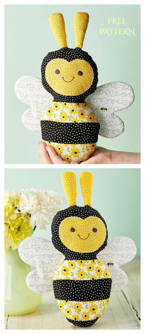 DIY Fabric Toy Sunshine Bee Free Sewing Pattern