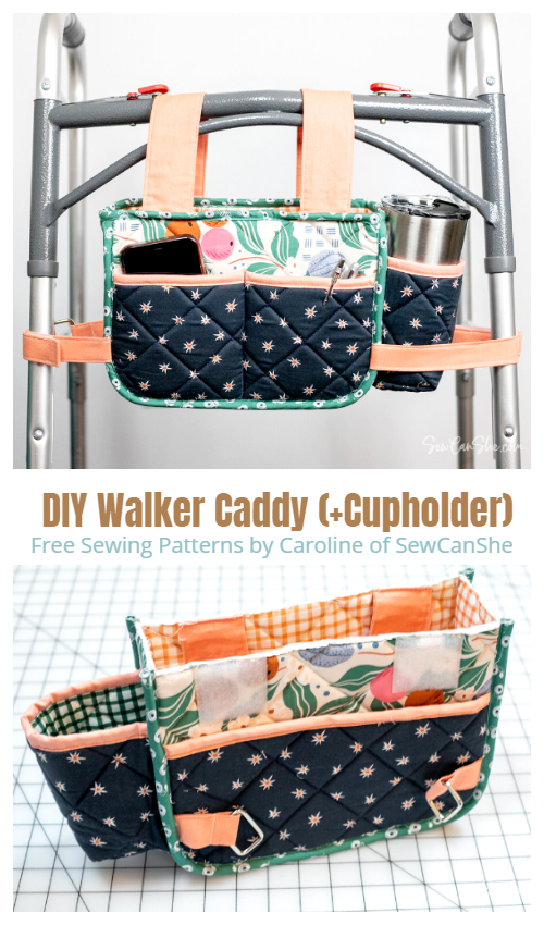 DIY Fabric Quilted Walker Caddy Free Sewing Patterns & Tutorials