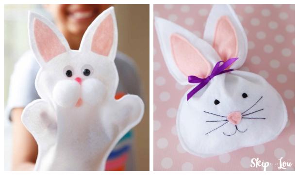 DIY Felt Bunny Hand Puppet Free Sewing Pattern