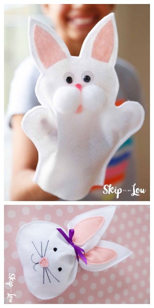 DIY Felt Bunny Hand Puppet Free Sewing Pattern