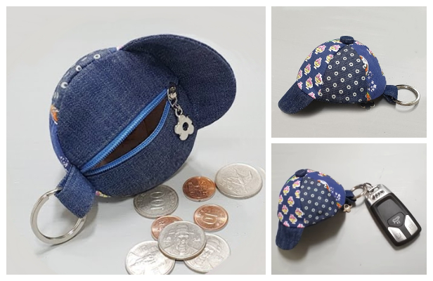 DIY Mini Hat Coin Purse Keychain Free Sewing Pattern + Video