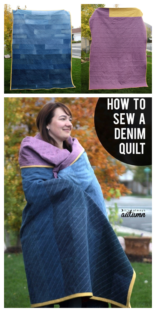DIY Recycled Jeans Denim Quilt Sewing Tutorial