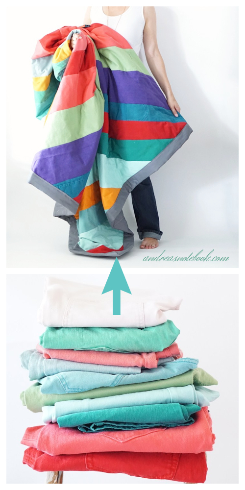 DIY Recycled Rainbow Jeans Denim Quilt Sewing Tutorial