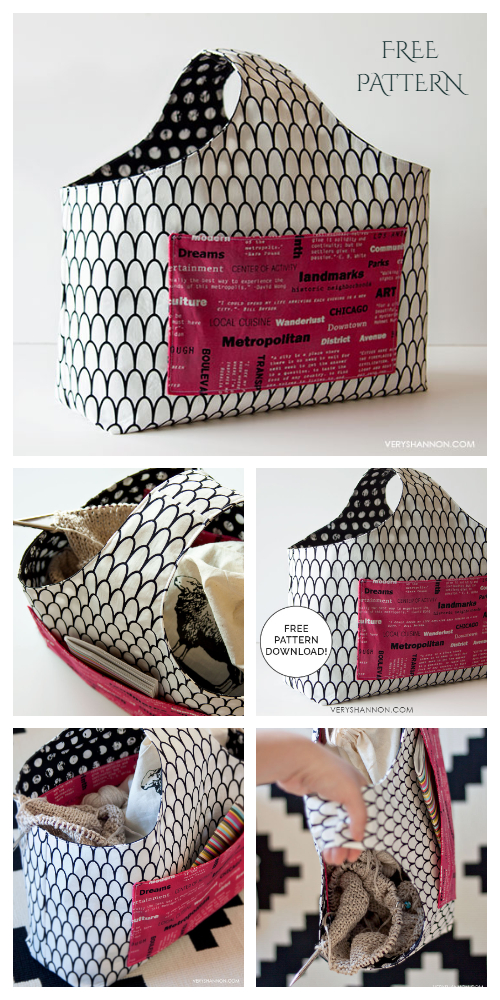 DIY Reversible Box Tote Bag Free Sewing Pattern
