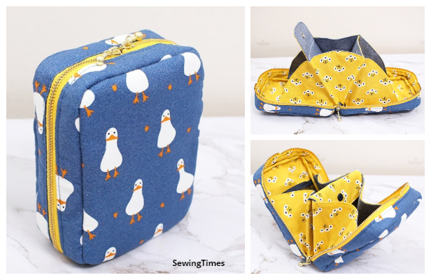 DIY Fabric Multi-Pocket Pouch Bag Free Sewing Pattern + Video