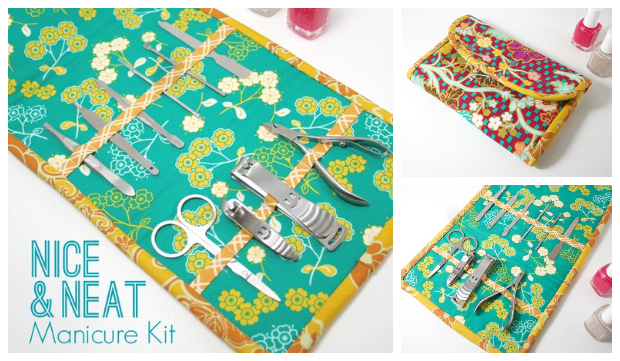 DIY Fat Quarter Fabric Manicure Kit Free Sewing Pattern and Tutorial