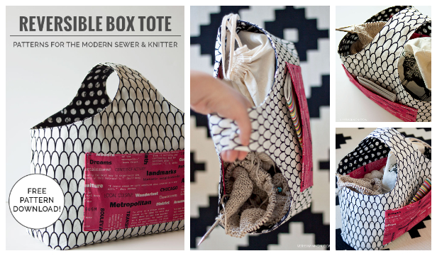 DIY Reversible Box Tote Bag Free Sewing Pattern