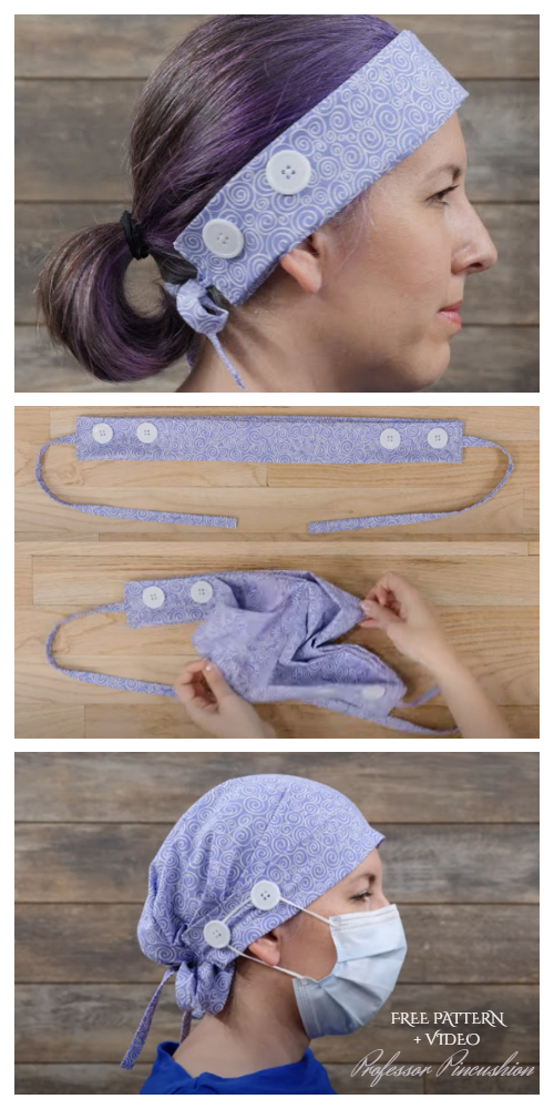 Convertible Fabric Headband to Scrub Cap DIY Tutorial + Video