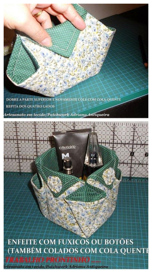 DIY Patchwork Fabric Bath Caddy Free Sewing Pattern